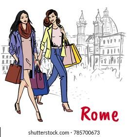 Fashion sketch of beautiful woman in Rome, Piazza Navona
