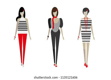 fashion sketch design with models wearing black and white dresses pattern
