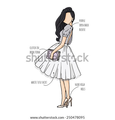 Fashion Sketch Drawing Girls Beautiful Looks Stock Vector Royalty