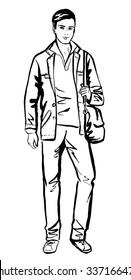 Fashion sketch of man walking on street