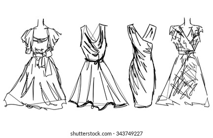Dress Sketch Images Stock Photos Vectors Shutterstock