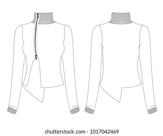 Fashion sketch template of female assymetric styled jacket isolated on white background