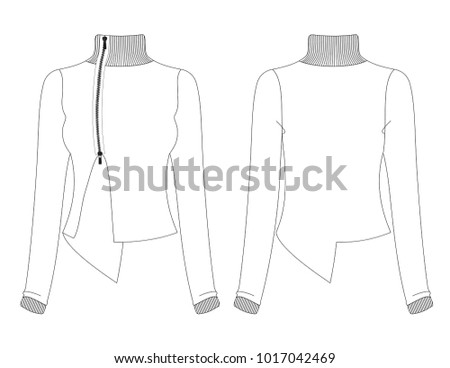 Fashion Sketch Template Female Assymetric Styled Stock Vector