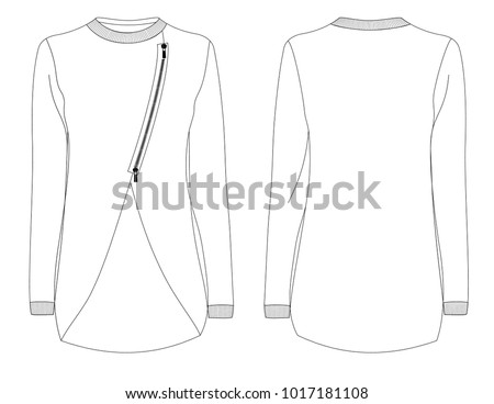 Fashion Sketch Template Female Sweatshirt Zip Stock Vector Royalty