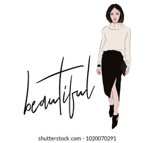 Fashion sketch. Woman in knitted sweater and midi skirt casual business illustration. Magazine portrait stylish look. Street style beautiful outfit. Blogger elegance going out outfit.