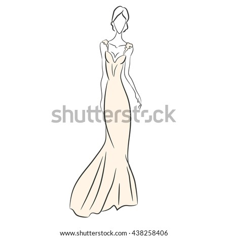 Fashion Sketch Woman Long Pink Dress Stock Vector (Royalty Free ...