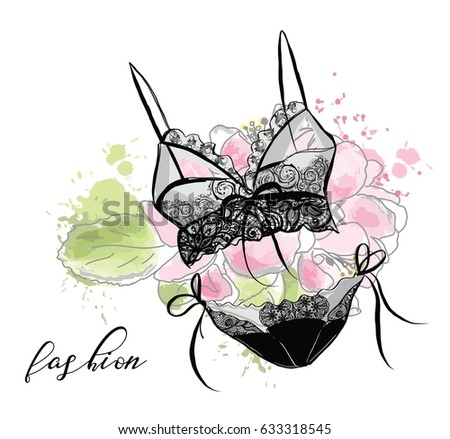 c5010ac404 Fashion Sketch Womens Lace Sexy Lingerie Stock Vector (Royalty Free ...