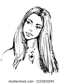 Fashion sketch of a young beautiful woman in ink style black and white hand drawn art vector illustration