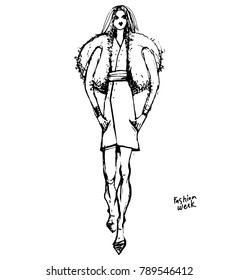Fashion Sketchbook fashion design development. Black and white sketch of clothes. On the sketch, a beautiful girl walks along the catwalk.