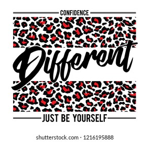 Fashion slogan print. animal texture vector graphic for tee printing.
