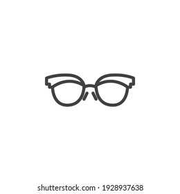 Fashion spectacles line icon. Sunglasses linear style sign for mobile concept and web design. Female glasses outline vector icon. Symbol, logo illustration. Vector graphics