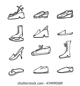 Fashion and Sport shoes cartoon drawing icons
