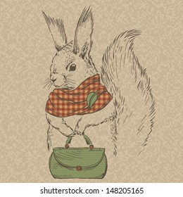 Fashion Squirrel in Scarf with Bag, Vector Illustration