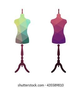 Fashion stand, female torso mannequin. tailor multicolor mannequin. body mannequin. sewing tailor mannequin. Fashion Background with Colorful Mannequins.
