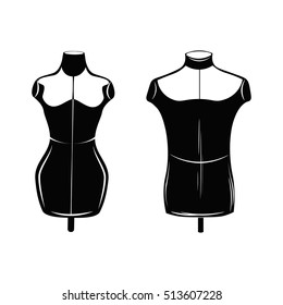 Fashion stand, male and female torso mannequin. tailor multicolor mannequin. body mannequin. sewing tailor mannequin. Vector Illustration