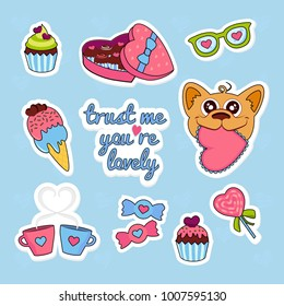 Fashion stickers patch badges with heart, love, candy, ice cream, dogs, sweets, cake, glasses, love stickers and other. Very large set of girlish stickers to the day of lovers, patches in cartoon