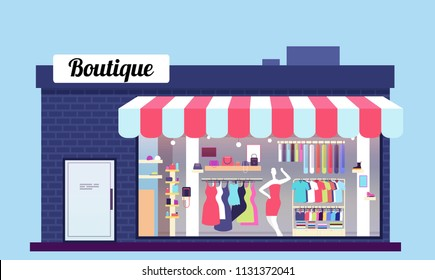 Fashion store exterior. Beauty shop boutique exterior with storefront and clothes. Vector illustration. Store, boutique and storefront window facade