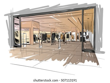 Fashion store hand drawn sketch interior design. Vector illustration