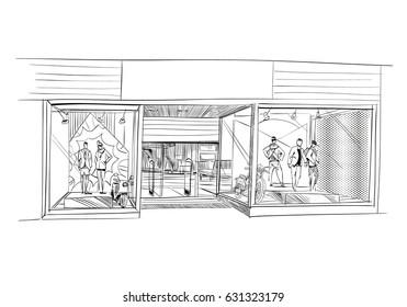 Fashion store hand drawn sketch interior design. Vector illustration