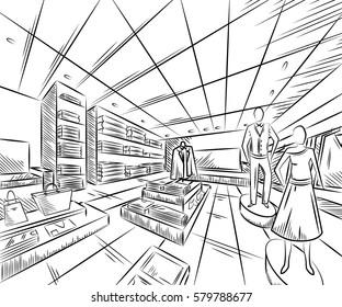 Fashion store interior design in sketch style. Vintage hand drawn vector illustration