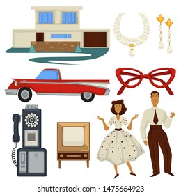 Fashion style of 1950s and architecture, epoch symbols, technology and car vector. House or mension and jewelry with pearls, cat-eye glasses and vehicle. Telephone and TV set, man and woman in dress