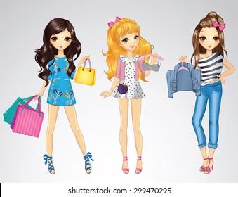 Fashion style shopping girls