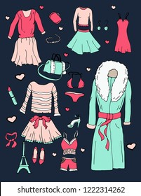 fashion style vector, women's clothing and jewelry, an illustration can be repainted, mastabirovat, move objects