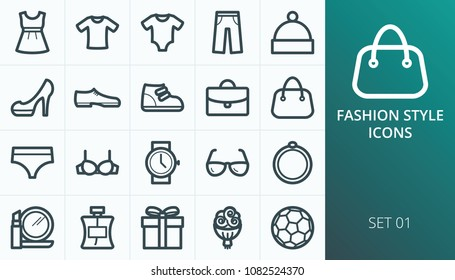 Fashion style wear shopping icons set. Set of man, woman, child wear, clothes, underwear, shoes, accessory icons