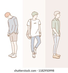 Fashion of a stylish boy. hand drawn style vector design illustrations.