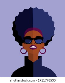 Fashion stylish woman icon  in flat style in sunglasses. Vector illustration