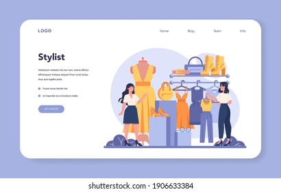 Fashion stylist web banner or landing page. Modern, creative job, professional fashion and beauty industry character. Personal stylist services. Isolated vector illustration in cartoon style