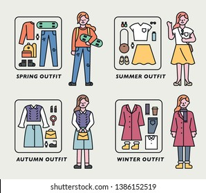 Fashion suggestions in various styles. Season fashion outfit set. flat design style minimal vector illustration