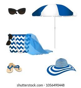 Fashion summer accessories. Sunglasses, hat, bag and flip-flops. Vector illustration