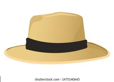Fashion summer hat for men ,vector illustration graphic design.