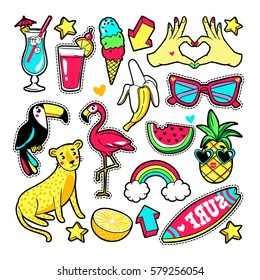 Fashion summer patches with flamingo, fruits, cocktail, surf board, sunglasses, etc. Vector illustration isolated on white background. Set of stickers, pins, patches in cartoon 80s-90s trendy style.