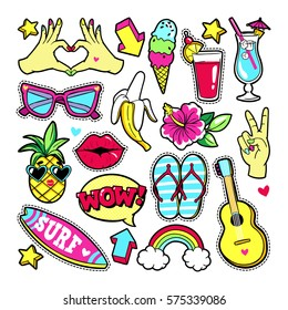 Fashion summer patches with fruits, cocktail, surf board, guitar, sunglasses, etc. Vector illustration isolated on white background. Set of stickers, pins, patches in cartoon 80s-90s trendy style.