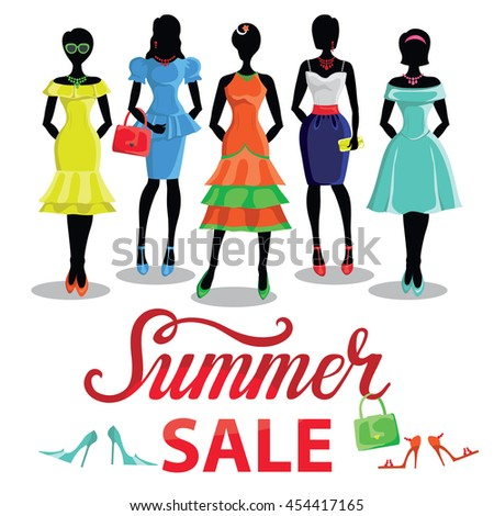 4d42c0f31b8 Fashion Summer sale shopping girls illustration.Vector.Sale poster.Pretty  woman in Colored