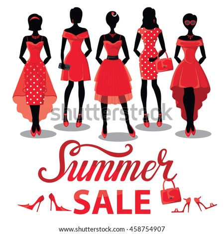 fc0b418cd Fashion Summer sale shopping girls illustration.Vector.Sale poster.Pretty  woman in Red