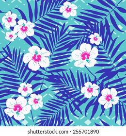 Fashion summer tropical print.Hawaiian exotic palm pattern.
