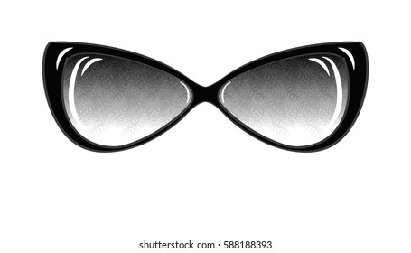 Fashion Sunglasses on White Background Isolated. Sketch of Fantasy Glasses with Printed Lenses. Vector Illustration. Vintage Accessories. Retro Style Design. Freehand Drawing of a Cat Eye Sunglasses.