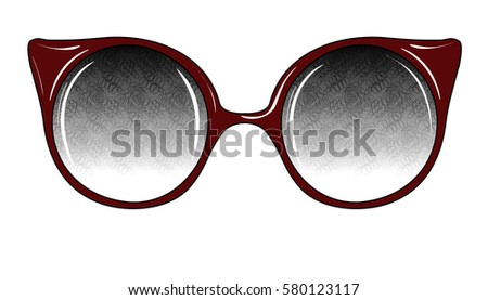 94dcdd1210d Sketch of Fantasy Glasses with Printed Lenses. Vector Illustration. Vintage  Accessories. Retro Style Design. Freehand Drawing of a Cat Eye Sunglasses.