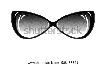 b1d32a551a8 Fashion Sunglasses on White Background Isolated. Sketch of Fantasy Glasses  with Printed Lenses. Vector