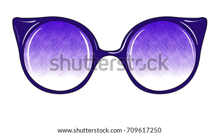 fc83ca1046 Fashion Sunglasses on White Background Isolated. Sketch of Fantasy Glasses  with Printed Lenses. Vector