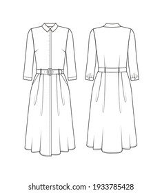 Fashion technical drawing of dress with flared skirt and belt