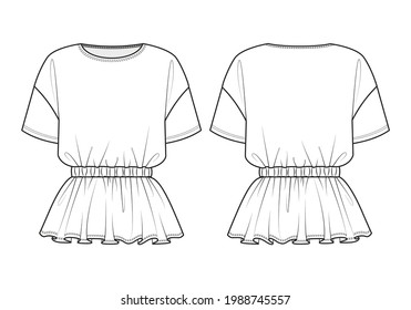 Fashion technical drawing of elasticated waist T-shirt