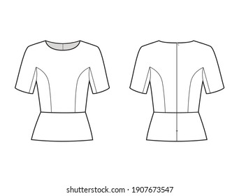 Fashion technical drawing of peplum blouse