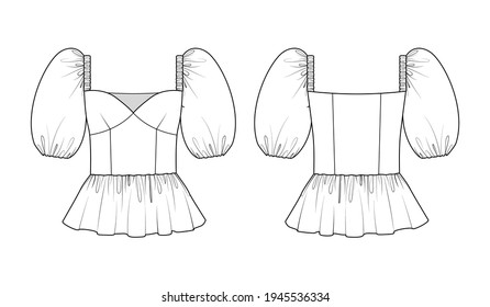 Fashion technical drawing of peplum top with puff sleeves and square neckline