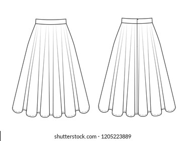 Fashion technical drawing of skirt