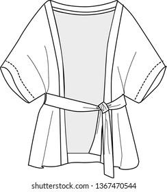 Fashion technical drawing,Japanese robes,kimono robe