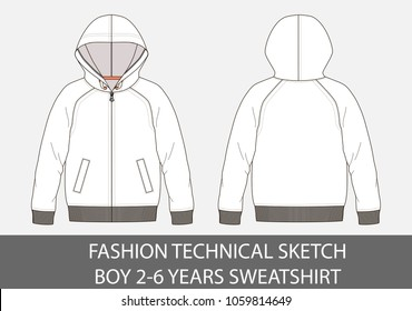 Fashion technical sketch boy 2-6 years sweatshirt with hood in vector graphic